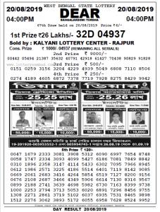 20 August 2019 Sambad LotteryEvening Result 4pm