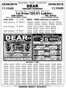 Lottery Sambad Morning 11AM Result 25-06-2019