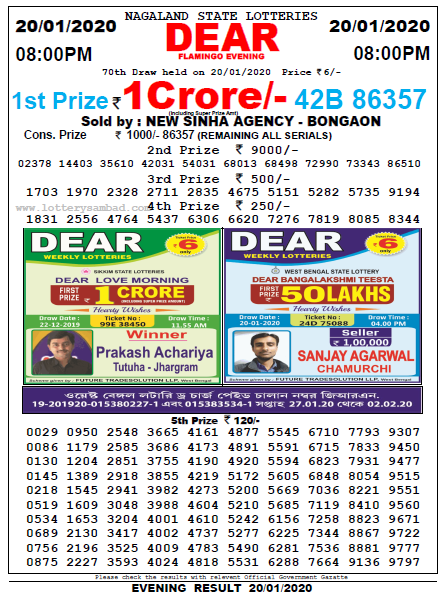 Lottery Sambad 8 PM Result 20 January 2020