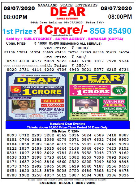 8-07-2020 Lottery Sambad Today 8pm