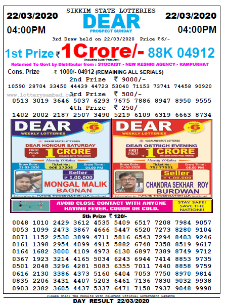 Lottery Sambad 4 PM Result 22 March 2020