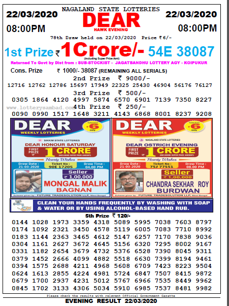 Lottery Sambad 8 PM Result 22 March 2020