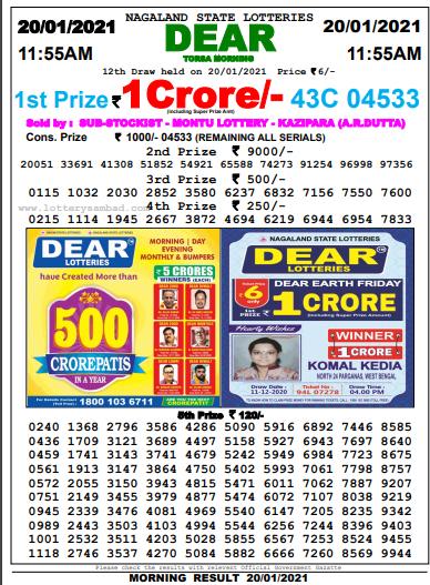 Lottery Sambad Morning 11 AM Result 21-1-2021