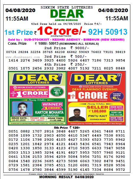 Lottery Sambad Morning 11 AM Result4-08-2020
