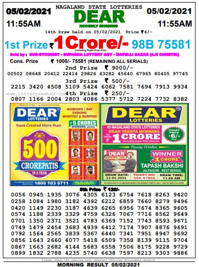 Lottery Sambad Morning 11 AM Result 5-2-2021