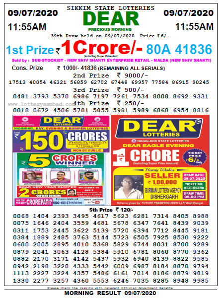 Lottery Sambad Morning 11 AM Result 9-07-2020